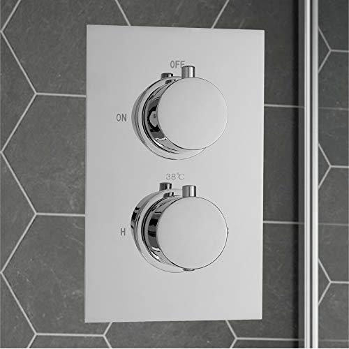 ENKI Miscelatore termostatico a incasso per doccia 2 manopole / 1 via rotonda