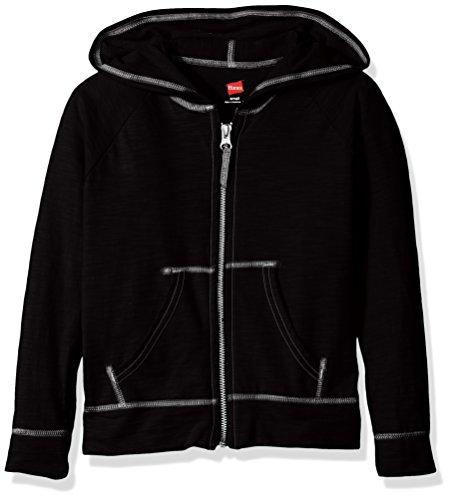 Hanes Girls' Big Slub Jersey Full Zip Jacket, Black, Medium
