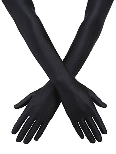Jetec 3 Pair 1920s Opera Gloves Classic Long Satin Gloves Elbow Length 22 Inch Gloves Adult Size for Women and Girls (Black)