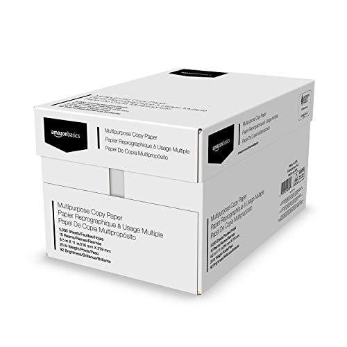 Amazon Basics 92 Bright Multipurpose Copy Paper - 8.5 x 11 Inches, 10 Ream Case (5,000 Sheets)