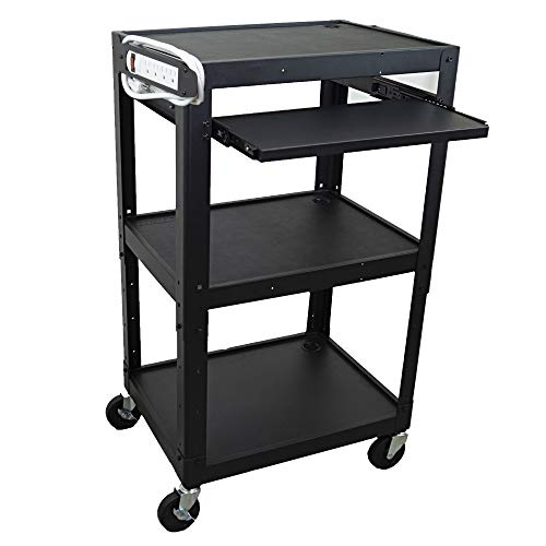 Steel Frame AV Cart with Keyboard Tray - Audio Visual Station with Wheels for Multi Media Technology (Printer, Projector, Document Camera, Laptop) - Three Shelf Rolling Cart with Power Cord