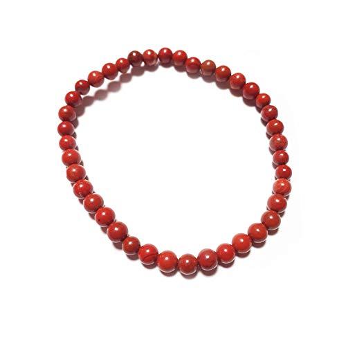 Desconocido Pulsera Jaspe Rojo Piedra Natural Bolas 4mm elástica diametro 6cm