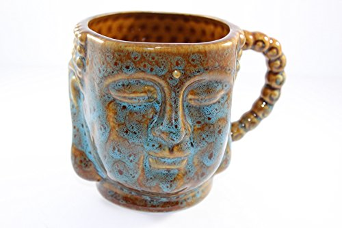 Buddha Bust Porcelain Mug with Handle 5.75x4.25x4'H (Brown/Blue)