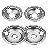 4 Pack 302 Stainless Drip Pan Stoven Set Replacement for Whirlpool W10278125