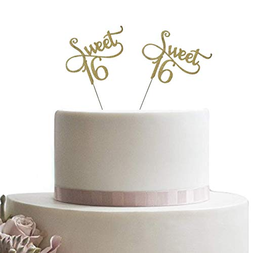 Two Gold Glitter Monogram Sweet 16 Cake Topper, 16th Birthday Party and Decoration. Also for Cupcakes