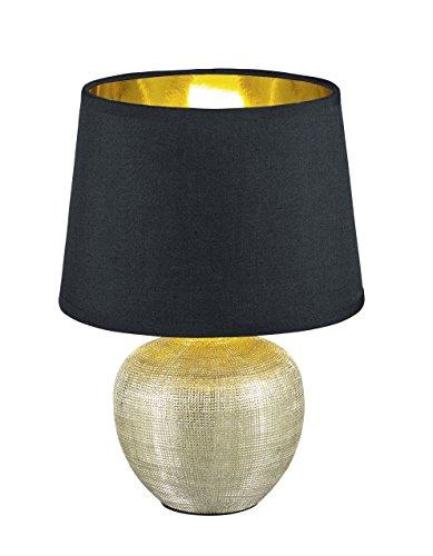 Reality Leuchten R50621079 Luxor, Tischleuchte, Keramik, E14, Gold, 18 x 18 x 26 cm