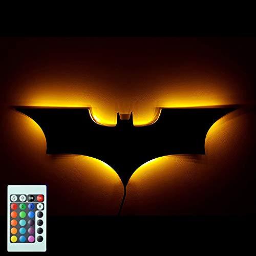 HHCC LED-Wandleuchte mit Fernbedienung Batman buntes Projektionsnachtlicht für Schlafzimmer KTV Corridor Background Wanddekorationsbeleuchtung,USB