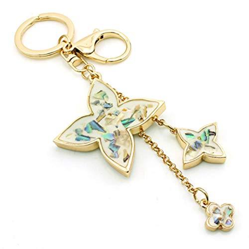 Mode Goud Kleur Metalen Karabijn Sleutelhangers Klaver Charms Sleutelhanger Voor Dames Handtas Luxe Sieraden, mixcolor