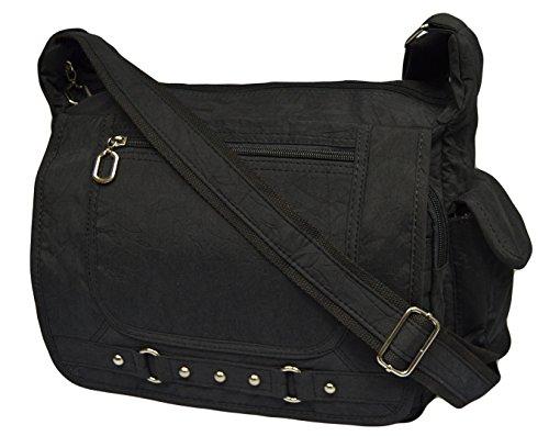 Leichte Sportlische Damen Schultertasche Umhängetasche Handtasche Stofftasche Bag Crossover (Schwarz)
