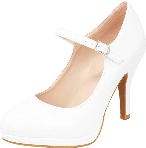 Cambridge Select Women's Closed Round Toe Mary Jane Buckled Strap Platform High Heel Pump (7 B(M) US, White Patent PU)