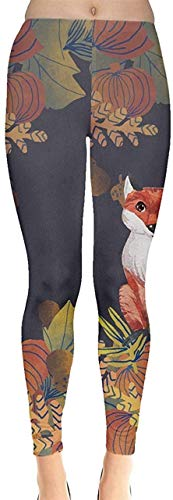 Sunny R Frauen Stretch Strumpfhose Woodland Animals Autumn Fox Thema und Käse Muster Leggings Yoga Sporthosen XL