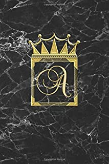 A: Personalised Journal Notebook Notepad (Blank Lined) Diary / Letter A Initial Monogram Notebook / Black And Gold Marble ...