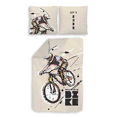 TRAUMHELDEN Bettwäsche 135x200 · Mountainbike Fahrrad · Coole MTB Bettwäsche · Kinder Teenager & Erwachsene - Kissenbezug 80x80 + Bettbezug 135x200 cm