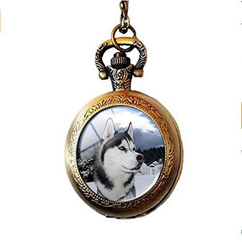 Collar de reloj de bolsillo con colgante de perro Husky para amantes...