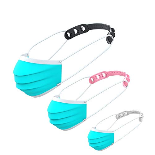 {5 Pack} Kavach Face Cover Extender Anti Slip Holder 3 Step Adjustable Hook Extension Belt to Protect Ear from Blood Vessel Blockage Release Pressure for Men, Women, children's (2Black, 2White, 1Pink)