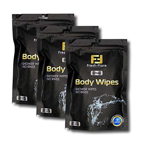 15 х Body Wipes Individually Wrapped for Adults - Personal Hygiene Body Cleansing Wipes - Large Size for Camping Sport Travel - Shower Rinse Free