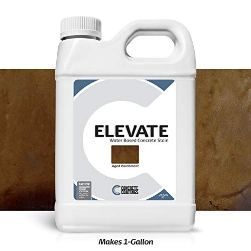 Elevate Water Based Concrete Stain, Semi-Transparent Concentrate Organic Concrete Colorant, for Concrete and Cement, Makes 1 Gallon (200 sq ft), Aged Parchment