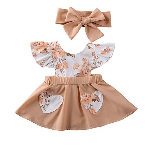 Ropa Conjuntos para Bebé Recién Nacido Niña 2 Piezas 1 Vestido Estampado Floral + 1 Diadema con Lazos Verano y Regalo para Bebé Recién Nacido (Nude, 0-6 Meses)