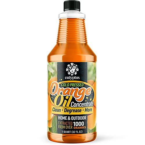 Calyptus Cold Pressed Natural Orange Oil Concentrate | All-Purpose Citrus Cleaner and Degreaser | Dilutes to 16 Gallons | Home and Outdoor, 32 Ounces