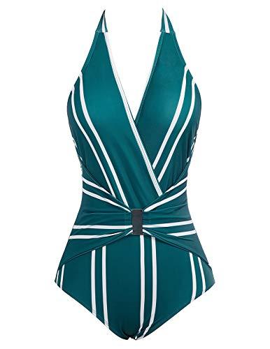 GRACE KARIN Costume da Bagno Intero per Donne Senza Schienale con Una Fibbia di Un Metallo per Spiaggia Mare 2XL CL010979-2