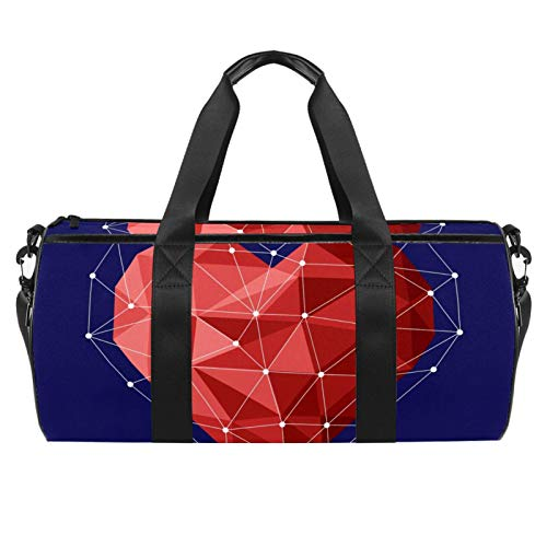 Travel Beach Bags, Large Sport Gym Overnight Duffle Geometric Heart Print Shoulder Bag with Dry Wet Pocket