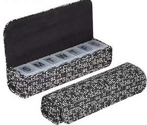 Ellen Tracy Small Weekly Pill Case - Vitamins, Pill Organizer for Traveling - 7 Compartment (Black/White Multi Tweed)