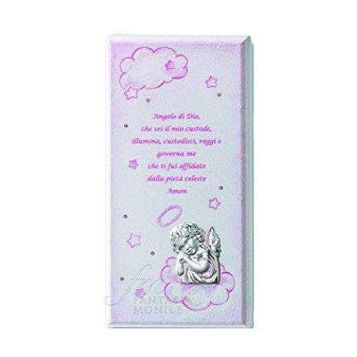QUADRO Acca Engel mit Gebet Schutzengel Silber 925Holz bemalt Pink 156r.3