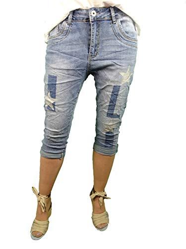 Karostar by Lexxury Dames denim Bermuda Capri broek | met zilveren sterren | korte jeans broek | lichte jeans wassen met ritssluiting | bermuda voor vrouwen | perfecte pasvorm met stretch