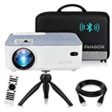 FANGOR HD Bluetooth Projector, 2021 upgraded 5500 Lux Portable LCD Projector with Carrying Bag and Tripod, Compatible with Smartphone, TV Stick, Roku, PS4, Xbox, Full HD 1080P Supported