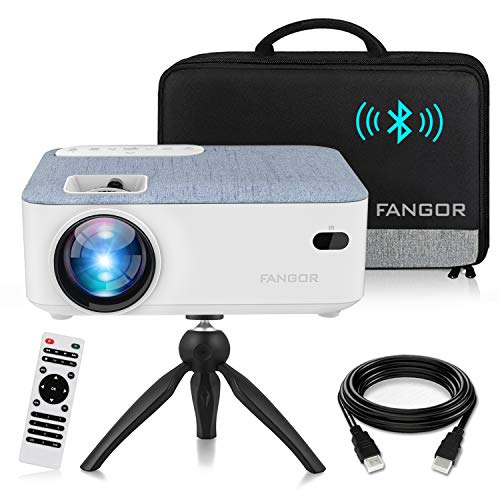 FANGOR HD Bluetooth Projector, 2021 upgraded Portable LCD Projector with Carrying Bag and Tripod, Compatible with Smartphone, TV Stick, Roku, PS4, Xbox, Full HD 1080P Supported