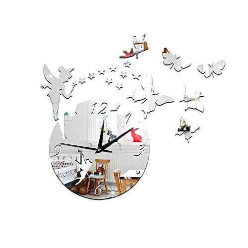 QULiang Stille DIY rahmenlose Uhr, fee kleine Jingle Girl Zimmer kreative heimtextilien Spiegel Spiegel wanduhr (ohne Batterie)