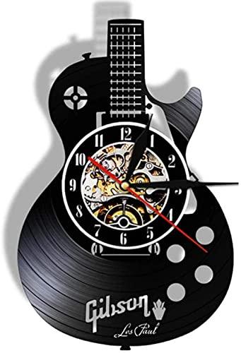 thetobea Guitarra acústica para Colgar en la Pared, Arte, Reloj de Pared, Instrumento Musical, Interior del hogar, decoración de Pared, Vinilo, Reloj de Pared, música Rock, Regalo de música, con LED