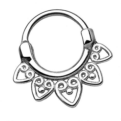 Taffstyle Piercing Clicker Scharnier Ring Chirurgenstahl Tribal Vintage mit Spitzen Herzen Septum Tragus Helix Ohr Nase Nasenring Nasenpiercing 1,2mm