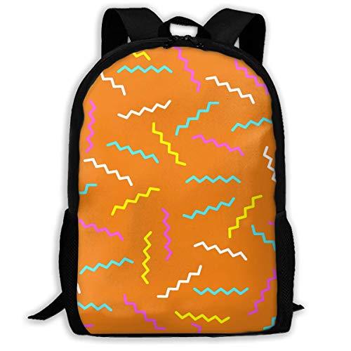 """Color Fringe Wave Printed School Backpack Water Resistant Travel Rucksack Bag Laptop Lightweight Backpack Daypack,17"""" Mochila Escolar"""
