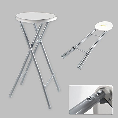 Riyashop Barhocker XL Hocker Klapphocker Klappstuhl Stuhl Hoch Faltbar Metall Weiß Grau