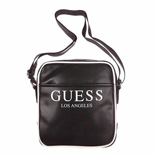 Guess – Kleine Umhängetasche aus Glattleder, Schwarz