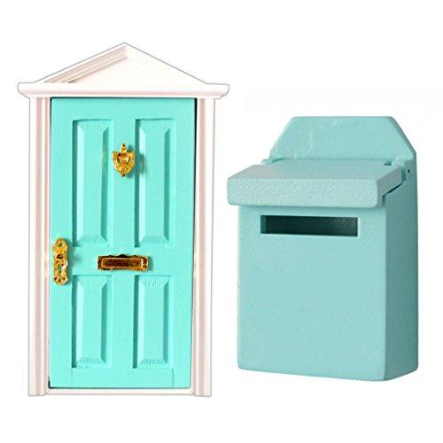sharprepublic 1:12 Casa de Muñecas Decoración en Miniatura Puertas Interiores de Madera Y Buzón Verde 2 Piezas