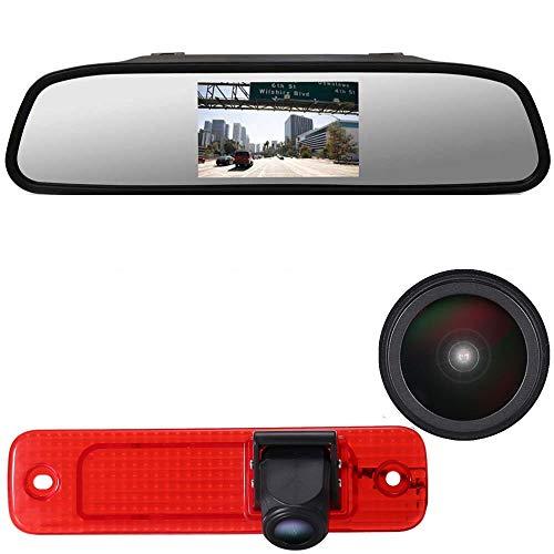 Auto Nachtsicht Rückfahrsystem im 3. Bremslicht Rückfahrkamera + 4.3\'\' Rückspiegel Monitor für Ford Transit Hecktür Transporter Van 3/Ford Transit MK7 Tourneo/Furgon MK4