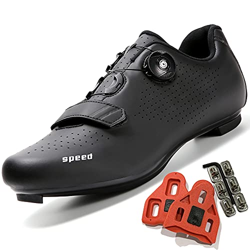 Cycling Shoes Women Men Road Bike Cleat Peloton Shoe Buckle SPD and Delta Indoor Outdoor Riding Shoes All Black39