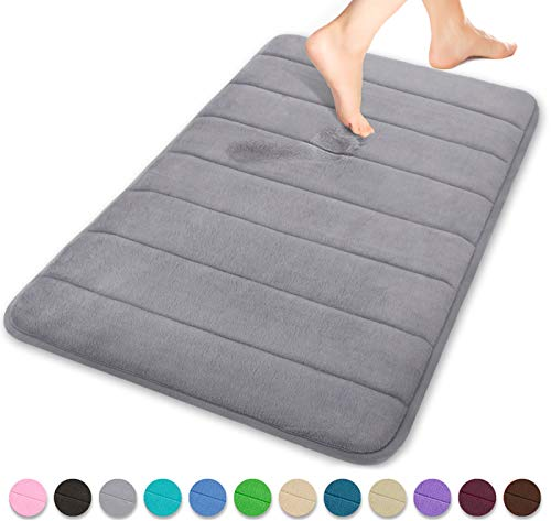 Yimobra Memory Foam Bath Mat Large Size 31.5 by 19.8 Inches, Soft and Comfortable, Super Water Absorption, Non-Slip, Thick, Machine Wash, Easier to Dry for Bathroom Floor Rug, Grey