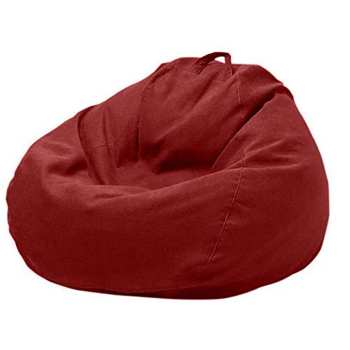 ZZX Sitzsack Hülle Bezug-ohne Füllung, Wechselbezug für birnenförmigen Sitzsack mit Reißverschluss Schonbezug, Ideal für Jugendliche und Erwachsene,Dark red,XL
