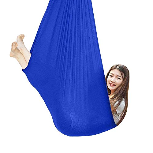 LHHL Indoor Children's Therapy Hammock Comfortable And Soft Swing Aerial Chair For ADHD Autism And Aspergers (Color : Blue, Size : 100 * 280CM/39 * 110in)