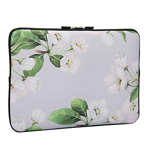 Lapac 13-13.3 Inch Laptop Sleeves White Flower, Water Repellent Neoprene Light Weight Notebook Bags Computer Skin Bag, Notebook Carrying Case Cover Bags for 13-13.3 inch MacBook Pro, MacBook Air
