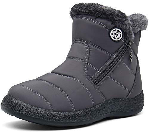 Damen Winterstiefel Wasserdicht Warm gefütterte Schneestiefel Winterschuhe Winter Kurzschaft Stiefel Boots Schuhe, Grau, 43 EU (Herstellergröße 265)