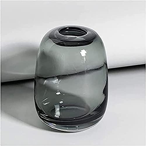 YYhkeby Jarrón de Flores Vintage Metal Vidrio Jarrón de Vidrio Simple Decoración de Mesa Agradable Transparente Pequeño jarrón o como Regalo Green Grey Glass Jarrón B Jialele (Color : C)