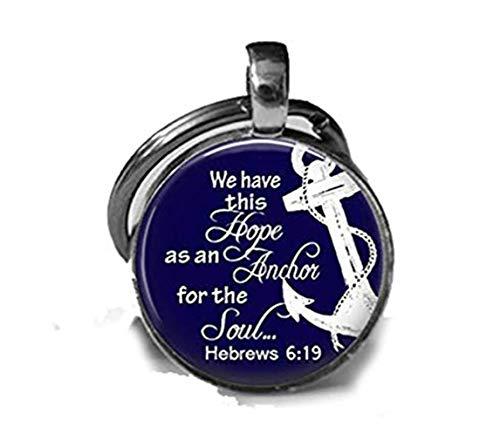 Imagens personalizadas, colar com foto de vidro âncora da esperança ou chaveiro, joia religiosa, colar cristão, classe da Bíblia presente de retiro feminino em hebraicos náuticos 6:19, chaveiro ou colar