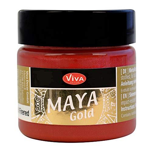 Viva Decor®️ Maya Gold (Feuerrot, 45 ml) Acrylfarbe mit Metallic Effekt - Malfarbe - Acryl Farben für Holz, Pappe, Beton, Papier, Leinwand UVM.