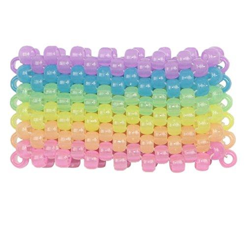 Glow in the Dark Horizontal Rainbow Kandi Cuff, kandi bracelet, beaded cuff, bead bracelet, for halloween music festivals and raves
