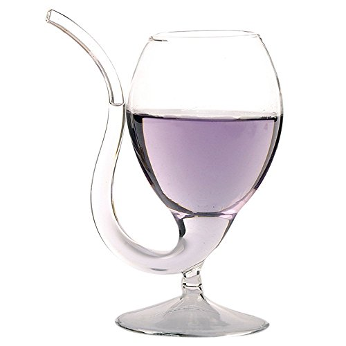 LOHOME Creative Vampire Filter Red Wine Glass, Clear Juice Cup, Goblet With Drinking Tube Straw High Gorosilicate Glass Wine Decanter (300ml/10oz) (1)