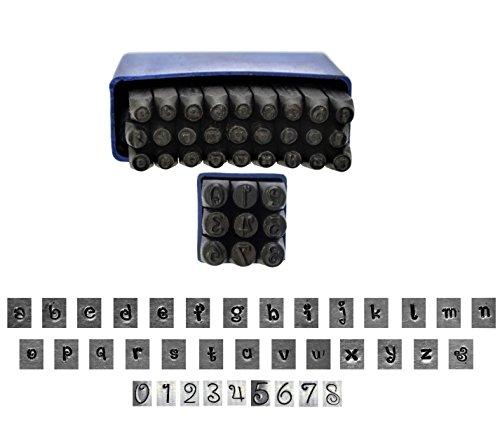 Proops J1385 Schlagstempel-Set für Metallarbeiten, Buchstaben und Zahlen, Schriftart Penguin, Kleinbuchstaben, 36Stück, 3mm, Buchstabe A-Z und Ziffern-Set,